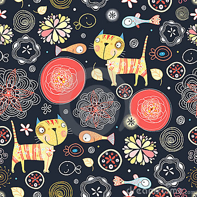 Floral pattern of the cats and fish