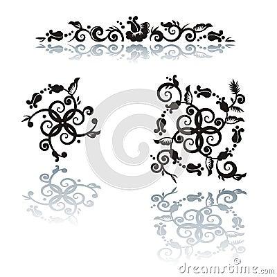 Floral pattern design elements