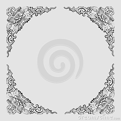 Floral pattern frame-gray