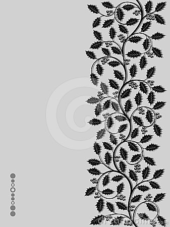 Floral pattern with ilex