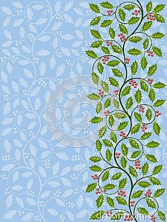 Floral pattern with ilex