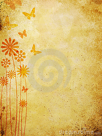 Floral pattern over old wall background