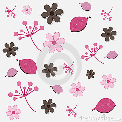Floral pattern - pink and brown
