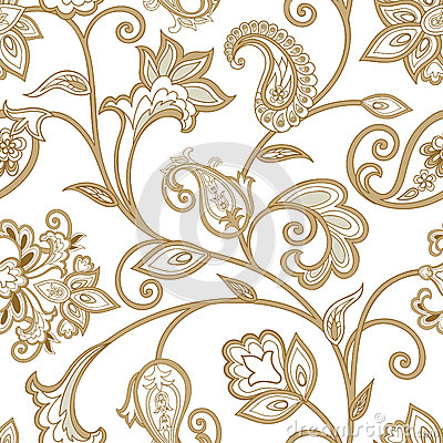 Free Floral Pattern. Seamless Oriental Arabesque Background. Tiled Or Stock Images - 84835194