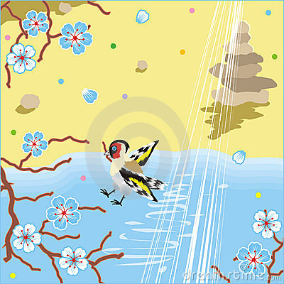 Floral pattern spring background with bird, water and stone pyra