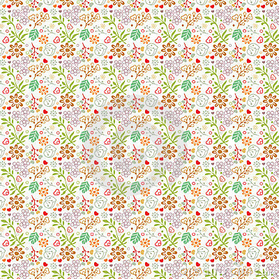 Floral pattern on white (seamless)