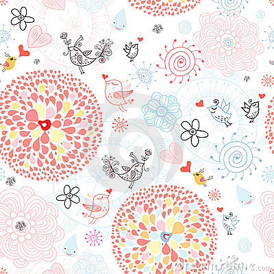 Free Floral Pattern With Birds Royalty Free Stock Image - 18751236