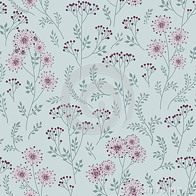 Free Floral Pattern With Leaves. Ornamental Herb Branch Seamless Back Royalty Free Stock Image - 83777306