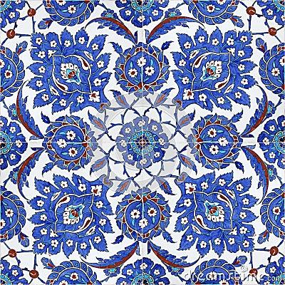 Floral patterns on Ottoman tiles, istanbul, turkey