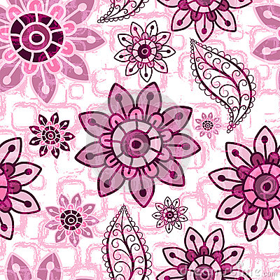 Free Floral Pink Grunge Seamless Pattern Stock Images - 33418194