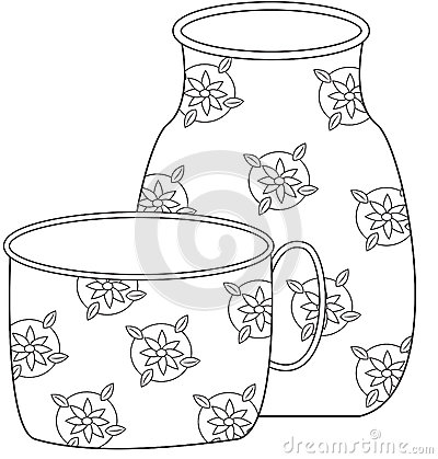Floral pitcher and cup coloring page stock illustration for Pitcher coloring pages