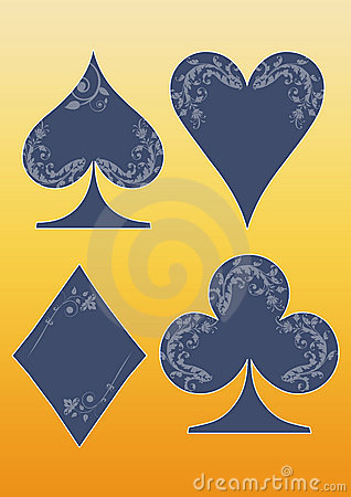 Floral playing card symbols