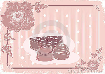 Floral postcard with chocolate sweets