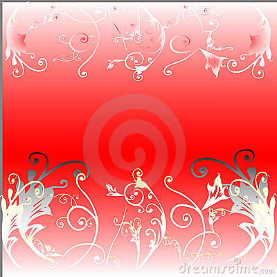Floral on red background