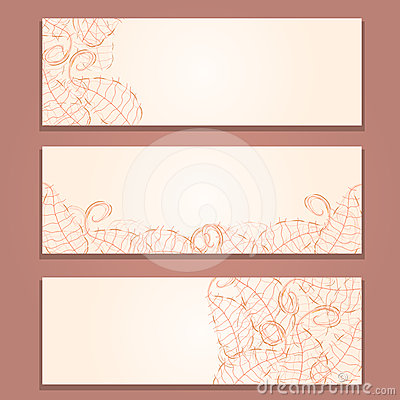 Floral Red Banner Set with Leaf Silhouettes