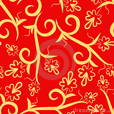 Floral red seamless pattern