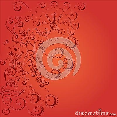 Floral red swirls background