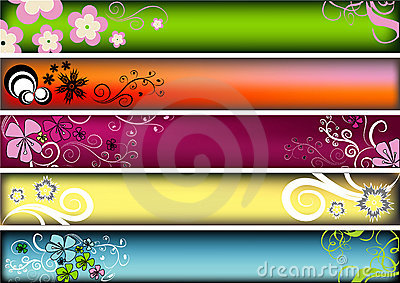 Floral retro banners