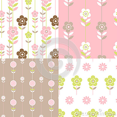 Pretty Retro floral pattern set
