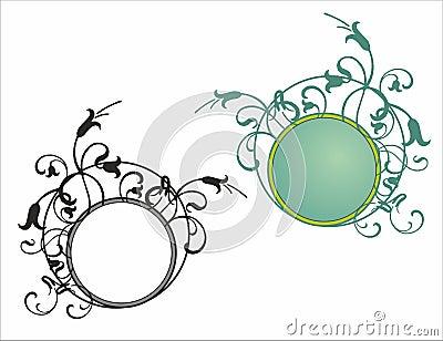 Floral round frame pattern