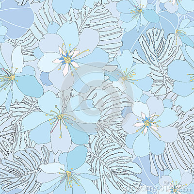 Free Floral Seamless Background. Gentle Flower Pattern. Stock Images - 30750404