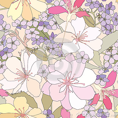 Free Floral Seamless Background. Gentle Flower Pattern. Stock Photo - 30800060