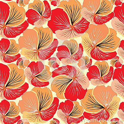 Floral seamless background. Red flower pattern.