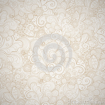 Floral seamless beige  background.