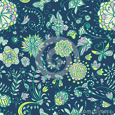 Floral seamless color pattern