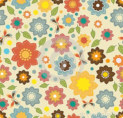 Floral seamless color pattern with flowers
