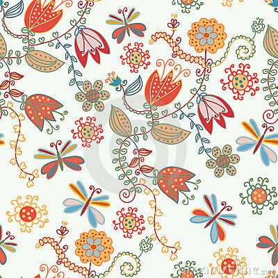 Floral seamless ornate pattern with tulips