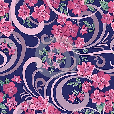 Free Floral Seamless Pattern. Abstract Ornamental Flowers. Royalty Free Stock Photo - 113602075