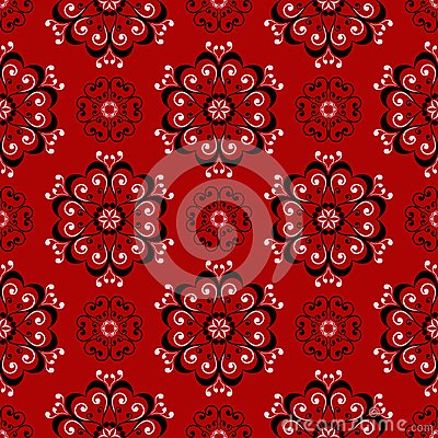 Free Floral Seamless Pattern. Black And White Design On Red Background Stock Image - 111403131