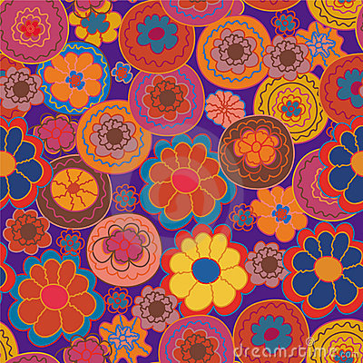 Floral seamless pattern with bright flowe