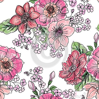Free Floral Seamless Pattern. Flower Bouquet Background. Stock Photos - 52092733