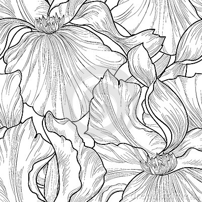 Floral seamless pattern. Flower iris etching background. Abstrac Stock Photo