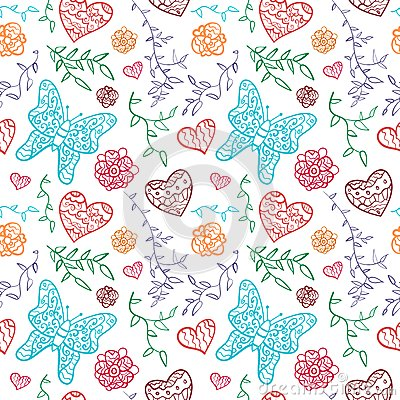 Floral seamless pattern with flowers, hearts and