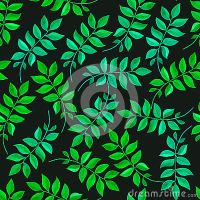 Floral seamless pattern with green leaves Vector Illustration