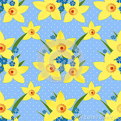 Floral seamless pattern with narcissus texture on dotted Stock Photo