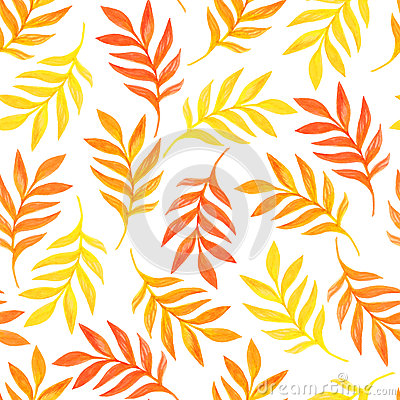 Floral seamless pattern with orange leaves on white background Vector Illustration