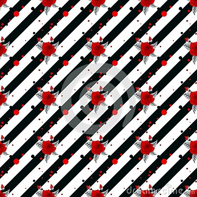 Floral seamless pattern, Red roses on black-white striped background. Stylish floral print, vector illustration Vector Illustration