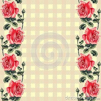 Floral seamless pattern (roses), fabric tartan.
