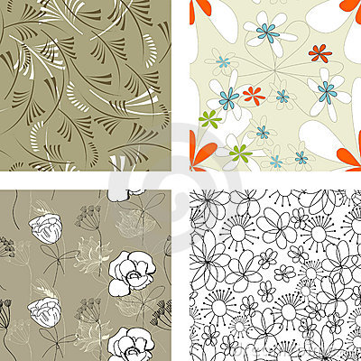Floral seamless pattern. Set 4