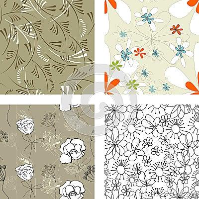 Floral seamless pattern. Set 4