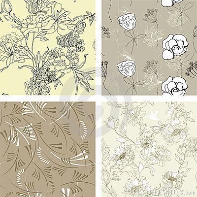 Floral seamless pattern. Set 7