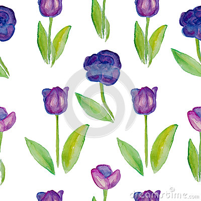 Free Floral Seamless Pattern Tulips (violet Flowers With Green Leafs). Royalty Free Stock Images - 50699209