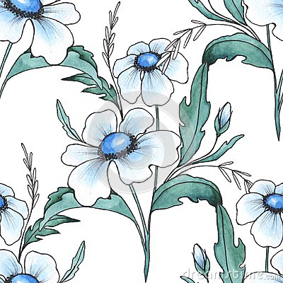Free Floral Seamless Pattern. Watercolor Background With White Flower Royalty Free Stock Image - 122359996