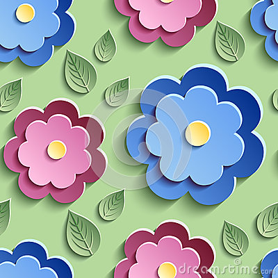 Free Floral Seamless Pattern With Colorful 3d Flowers Royalty Free Stock Images - 51708379