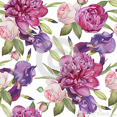 Free Floral Seamless Pattern With Hand Drawn Watercolor Peonies, Roses And Irises Royalty Free Stock Images - 65659649