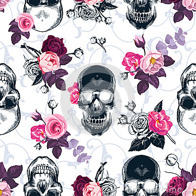 Free Floral Seamless Pattern With Monochrome Human Skulls Stock Image - 85571551